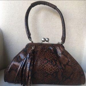 Adrianna Papell Brown Faux Snakeskin Handbag